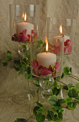Glass Pillar Candle Holders (Set of 3)