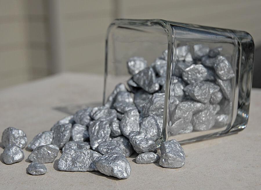 Silver Cobble Stones 1 lb Vase Fillers