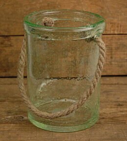 Glass Jar with Rope Handle 8in