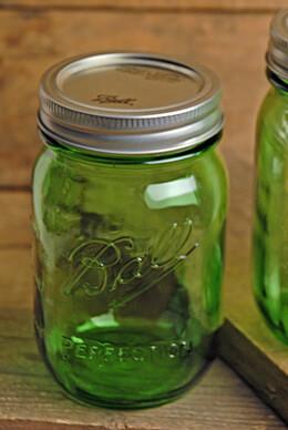 6 Ball Vintage Collection Green Pint Mason Jars