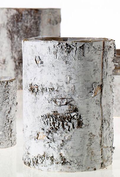 White Washed Birch Bark Vase 10 x 7in