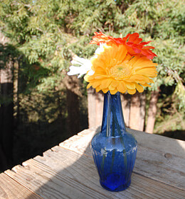 Cobalt Blue Glass Vase 7.25