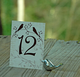 Love Bird Table Numbers Cards 1-15 (15 cards)