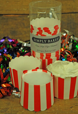 Simply Baked Large Baking Cups - Red & White Stripes (Pack of 20)