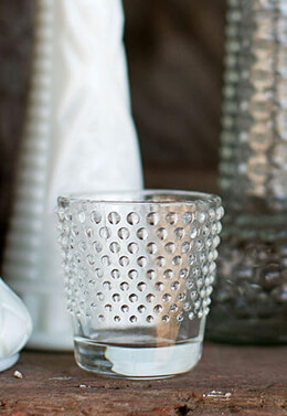 6 Glass Hobnail Votive Holders