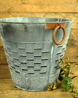 Distressed Round Olive Bucket Large