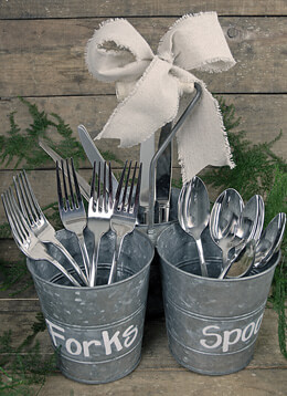 Triple Galvinized Buckets with Handle - Utensil Holders