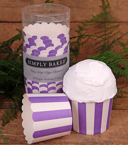Simply Baked Large Baking Cups - Purple & White Stripes (Pack of 20)