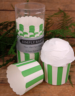 Simply Baked Large Baking Cups - Green & White Stripes (Pack of 20)