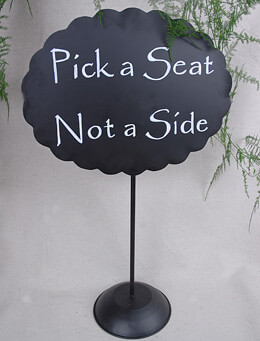 Scalloped Metal Chalkboard with Stand Oval