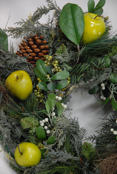 Green Apple & Pine Cone Wreath 24in