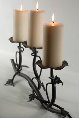 "24"" Wrought Iron Three Tier Pillar Leaf & Branch Candle Holder"