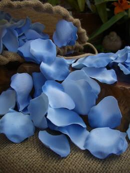 250 Blue Silk Rose Petals