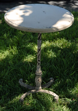 Rustic Shabby Chic Metal Pedestal Table 26in
