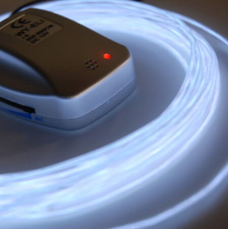 26' White LED Blue - Sound Activated Battery Operated El Wires