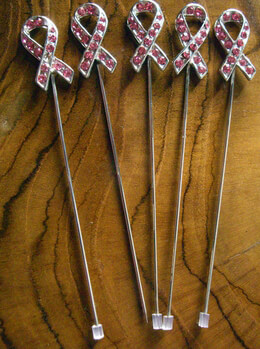 """3-1/2"""" Corsage Pin - Ribbon with Pink Stones"""