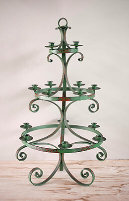 3-Tier Candelabra Green 35in