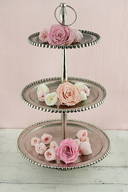 3-Tier Large Dessert Stand Silver 25in