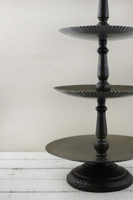 "3-Tier Black Metal & Wood 25"" Display Trays"
