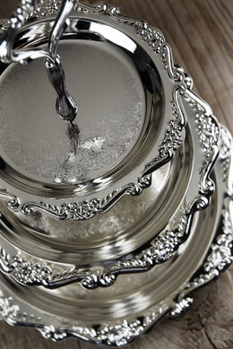 3 Tier Silver Plated Dessert Stand 9.75 x 12""