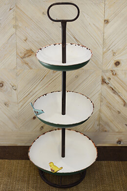 3-Tier Tray in Cream & Green