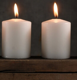 4 Pillar Candles 3 Inch White, Cotton Wicks, 25 hr burntime