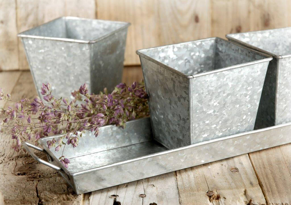 Herb Pots Galvanized & Tray | Set of 3