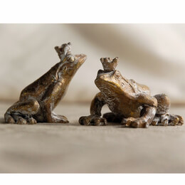 Frog Princes 2 inch Gold Metal Frogs with Crowns (2 frogs) set