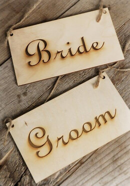 Bride and Groom Hanging Wood Signs 4x7