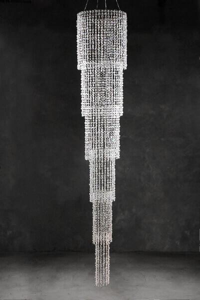 Grand Cascade Iridescent Crystal Chandelier 9 Ft
