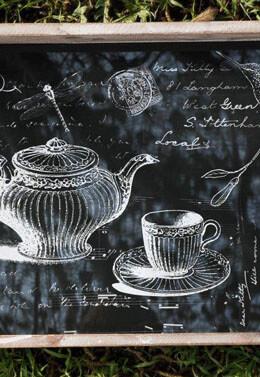 "Paris Tea Party 21"" Glass Top Serving Tray"