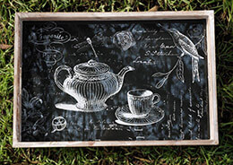 Paris Tea Party Glass Top Serving Tray