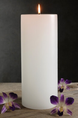 White Candle with Cotton Wick 10in