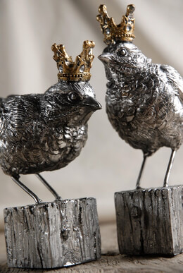 Bird Figurines with Crowns 5.75in | Set of 2