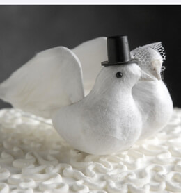 Wedding Cake Toppers Feathered Bride & Groom Doves (Set of 2)