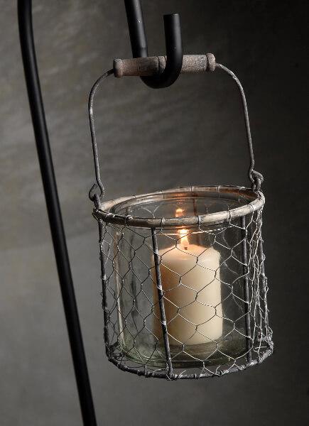 Chicken Wire Basket with Glass Insert 5in