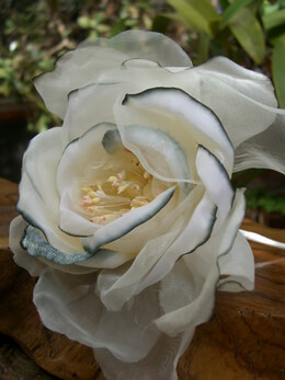 Rose Silk White & Silver