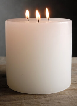 Pillar Candle 3 Wick White