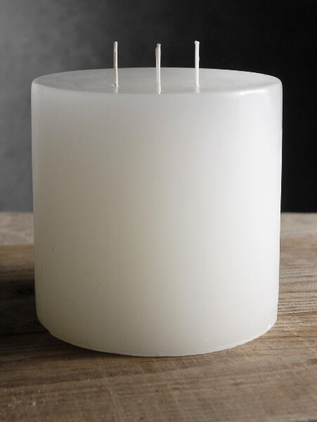 5x5 White Pillar Candle 3 Wicks 80 Hr Burntime
