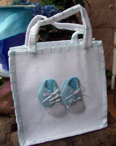 "6"" White Felt Favor Bag with Baby Shoe Applique"