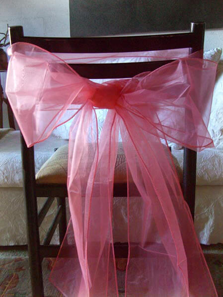 Organza Chair Sashes Coral Pink Pack of 10