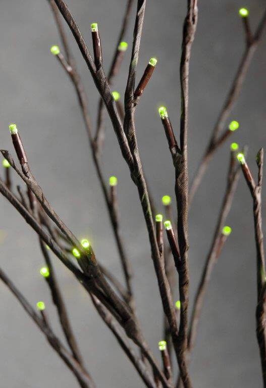 2 LED Willow Branches Green Lights Battery Op. 39in