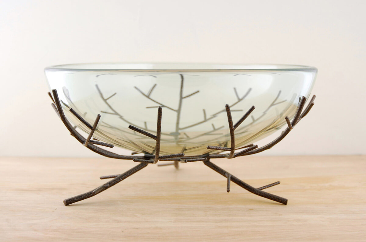 Floating Candle Bowl on Metal Branch Stand
