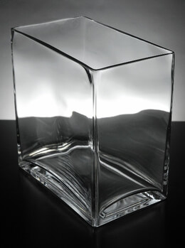 Thick Glass Rectangle Vases  7.5 x 8