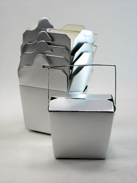 5 Tiny Metallic Silver Take Out Boxes 8 oz.  / 3in