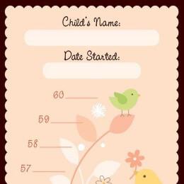 Pink Little Birdie Growth Chart