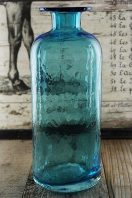 Aqua Blue 9 Inch Glass Bottle Bud Vase