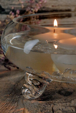 "9"" Clear Glass Footed Floating Candle Bowl"