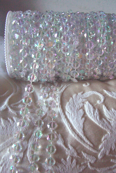 Iridescent Acrylic Crystal Garland Flat Rounds 99ft