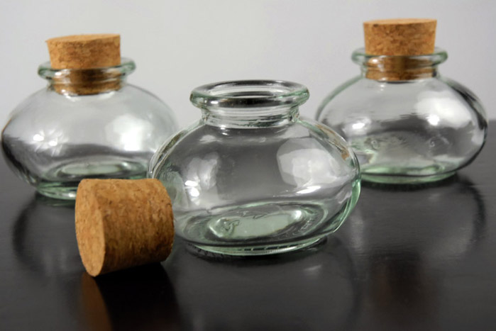 "24 Bean Jars 2"" Glass Bottles with Corks 3.4oz"